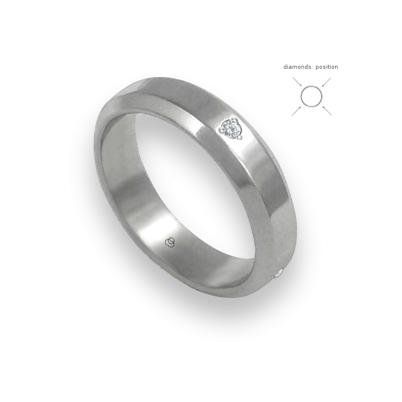 Unisex ring in white gold 18k with 4 diamonds polished finish model ab059524dw