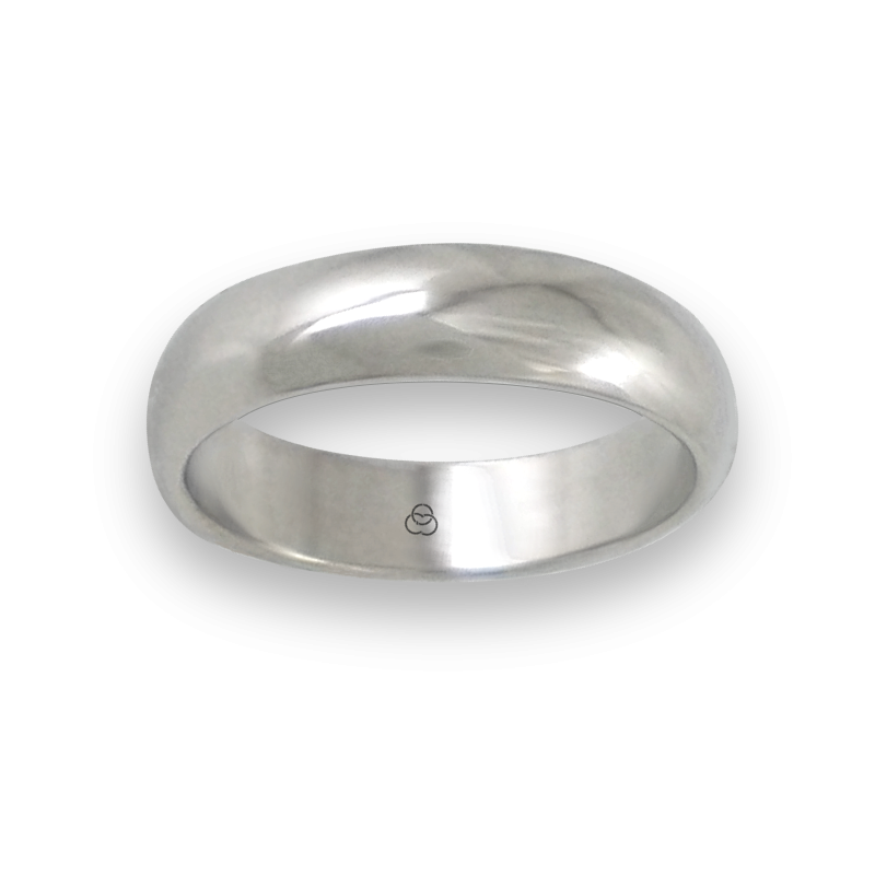 Ring in white gold 18k rounded surface polished finish model ab55-01ew