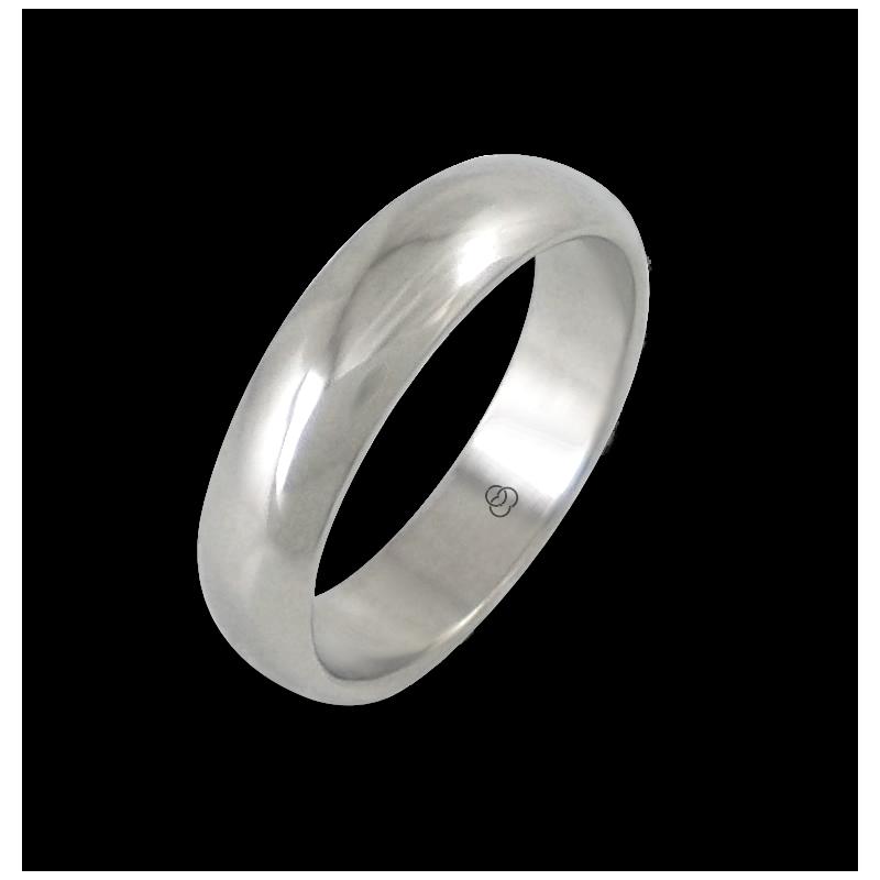 Anello in oro bianco 18 kt lucido superficie bombata modello ab55-10ew