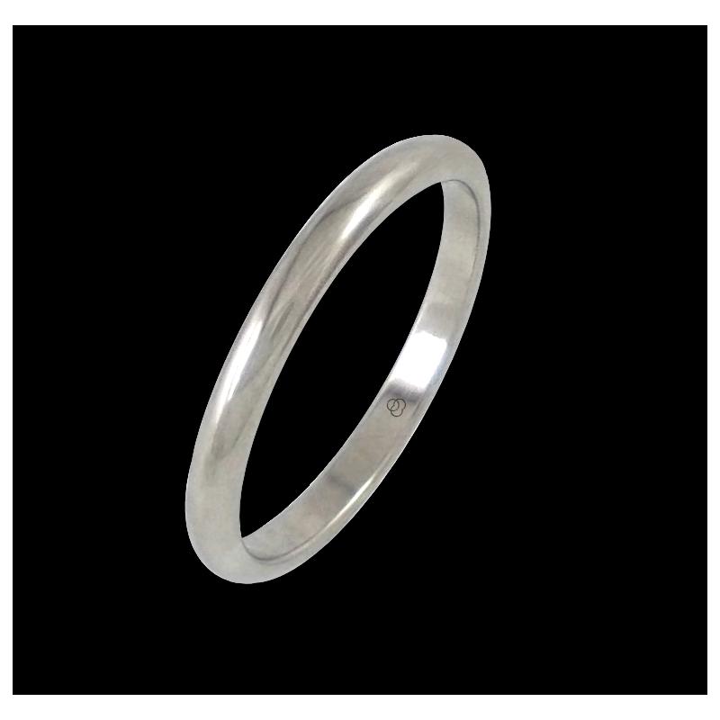 Anello in oro bianco 18 kt lucido superficie bombata modello ab62-30ew