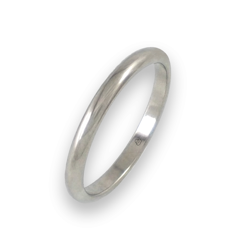 Ring in white gold 18k rounded surface polished finish model ab62-30ew