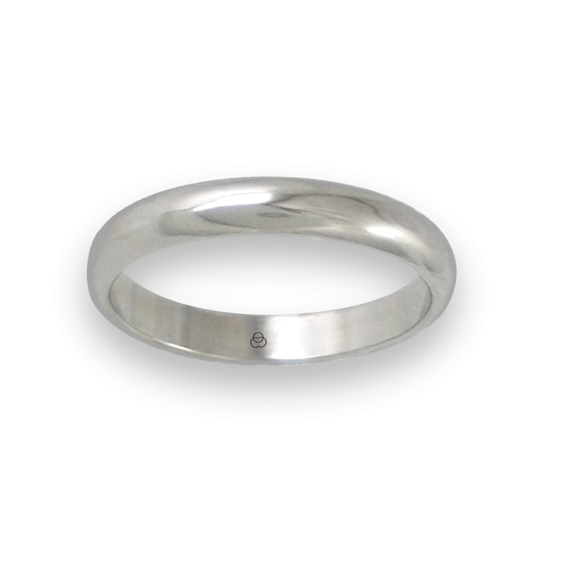 Ring in white gold 18k rounded surface polished finish model ab73-20ew