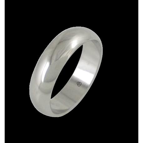 Anello in oro bianco 18 kt lucido superficie bombata modello ab06-10ew