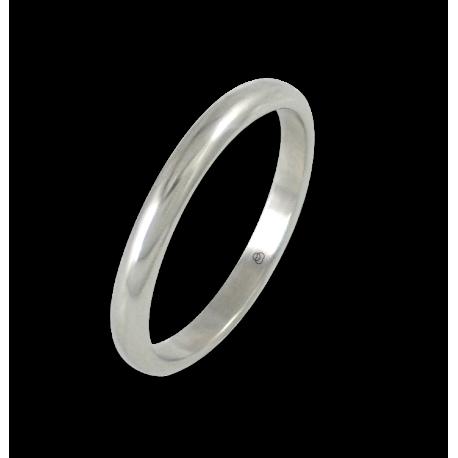 Anello in oro bianco 18 kt lucido superficie bombata modello ab82-20ew