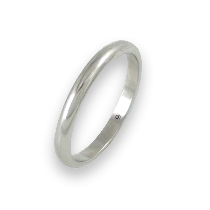 Ring in white gold 18k rounded surface polished finish model ab82-20ew