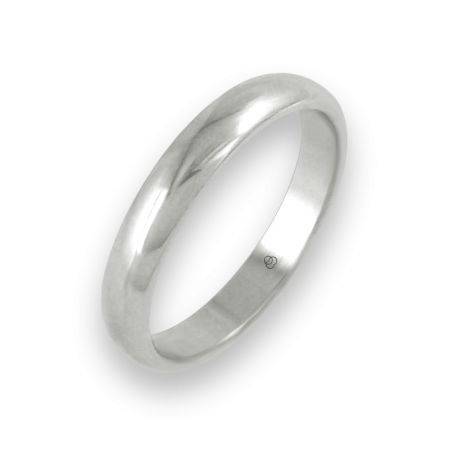 Ring in white gold 18k rounded surface polished finish model ab83-10ew