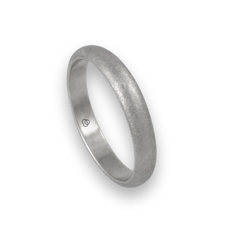Ring in white gold 18k rounded surface ice finish model jb24-20ew