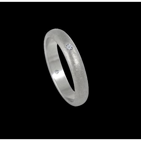 Anello in oro bianco 18 kt superficie bombata finitura ghiacco un diamante modello jb24-20dw