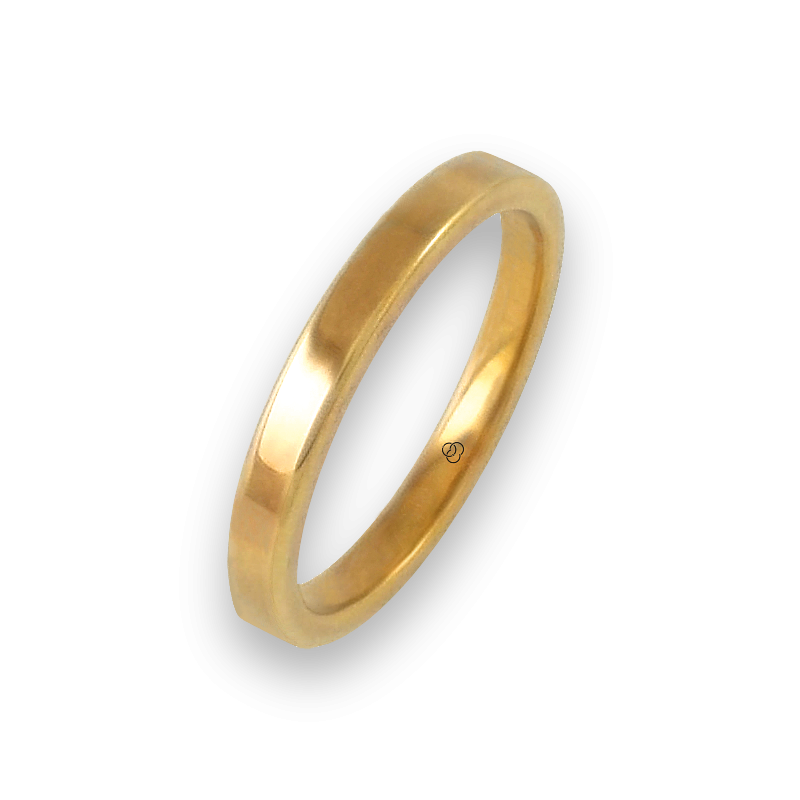 Ring in yellow gold 18k flat surface polished finish model ...