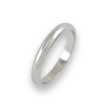 Ring in white gold 18k rounded surface polished finish model ab23-20ew