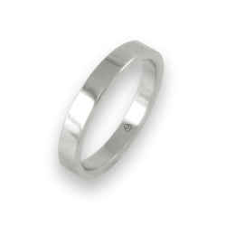 Ring in white gold 18k flat surface polished finish model ab23-50ew