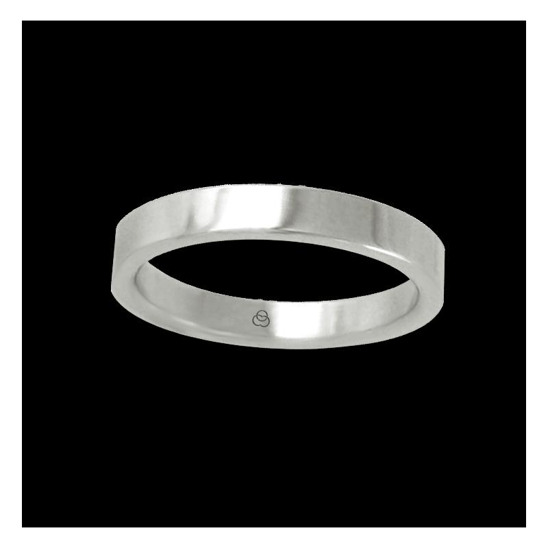 Anello in oro bianco 18 kt lucido superficie piatta modello ab23-50ew
