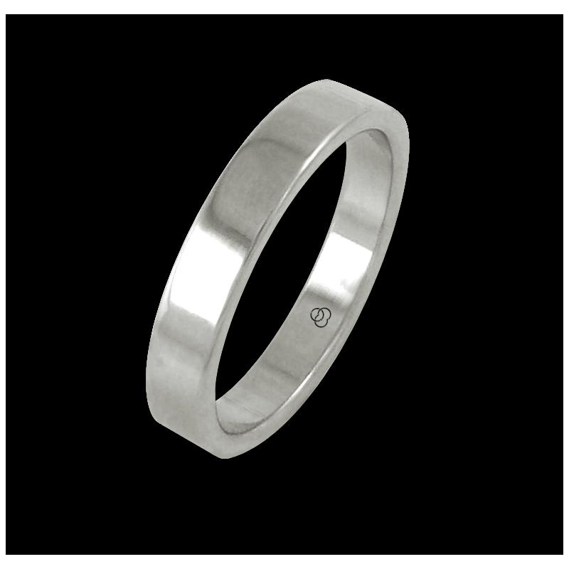 Ring in white gold 18k flat surface polished finish model ab04-50ew