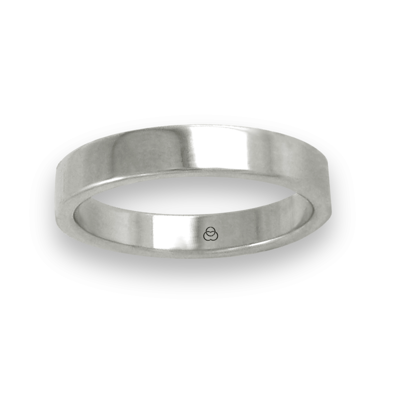 Ring in white gold 18k flat surface polished finish model ab04-50ew