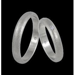Wedding rings white gold 18k ice finish one diamond model bj24-20