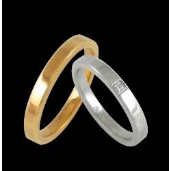 Пара обручальных колец из желтого и белого золота 18 карат, поверхность идеально ровная и блестящая алмаз модель ab82811