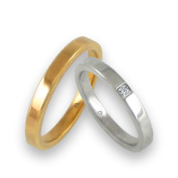 Wedding bands yellow and white gold 18k flat surface one diamond model ab82811