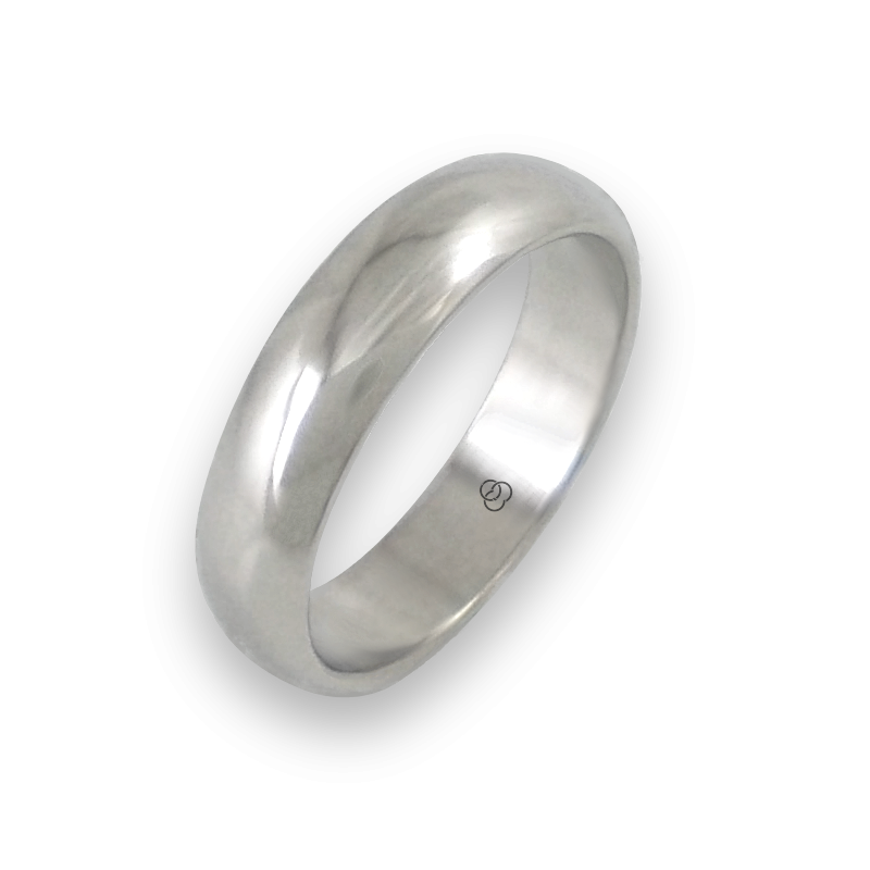 Ring in white gold 18k rounded surface polished finish model ab55-01ew-bis