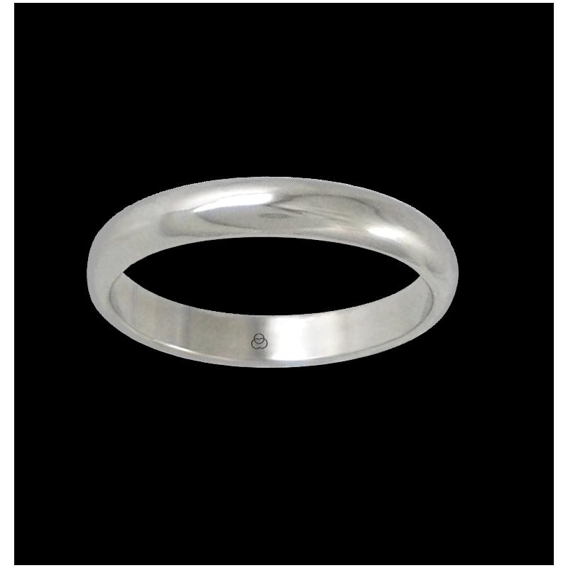 Anello in oro bianco 18 kt lucido superficie bombata modello ab73-20ew-bis