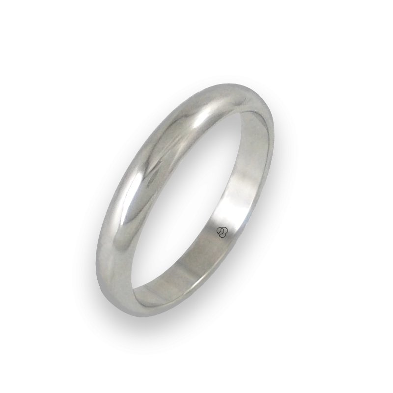 Ring in white gold 18k rounded surface polished finish model ab73-20ew-bis