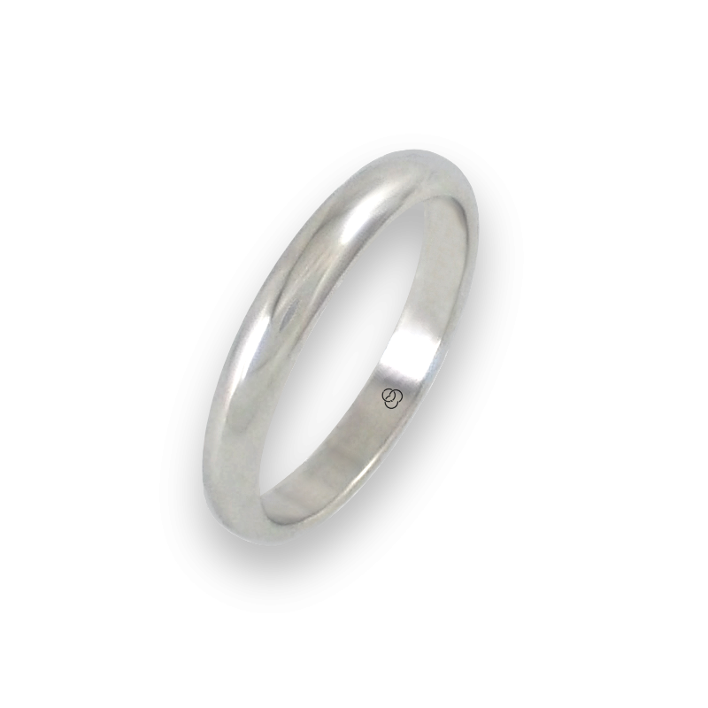 Ring in white gold 18k rounded surface polished finish model ab23-20ew-bis