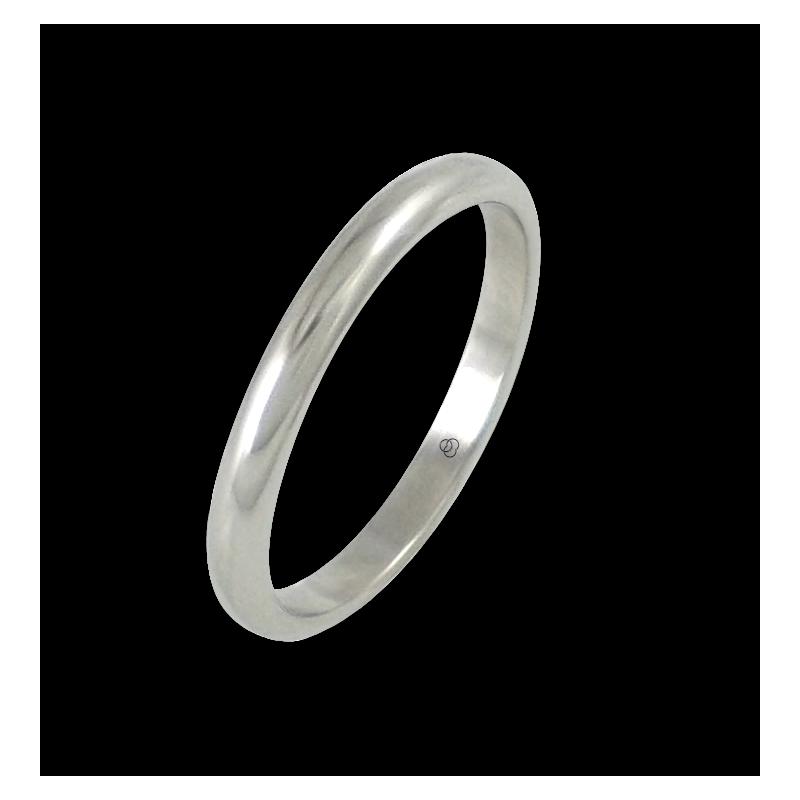 Anello in oro bianco 18 kt lucido superficie bombata modello ab82-20ew-bis