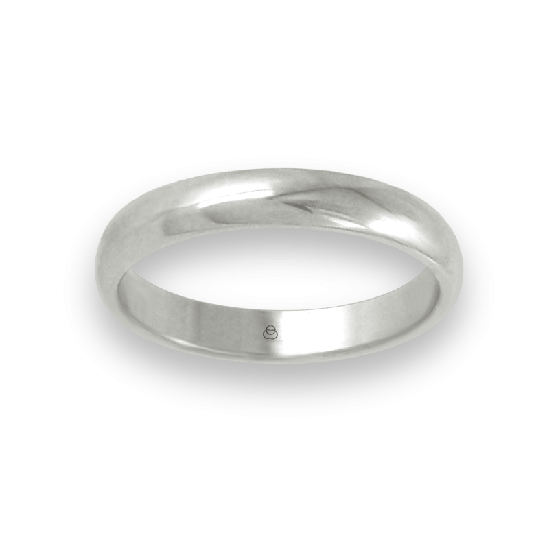 Ring in white gold 18k rounded surface polished finish model ab83-10ew-bis