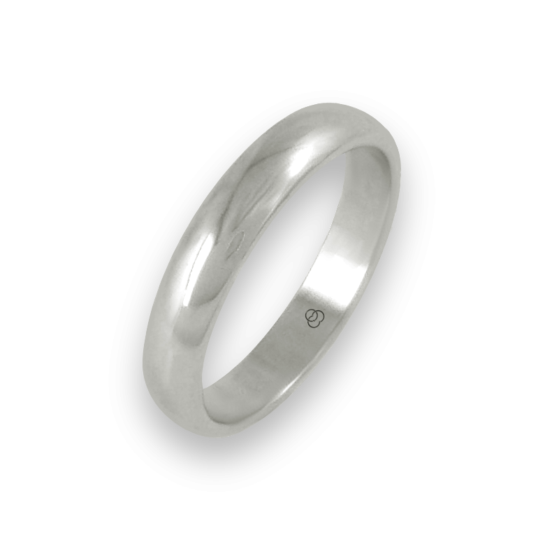 Ring in white gold 18k rounded surface polished finish model ab24-20ew