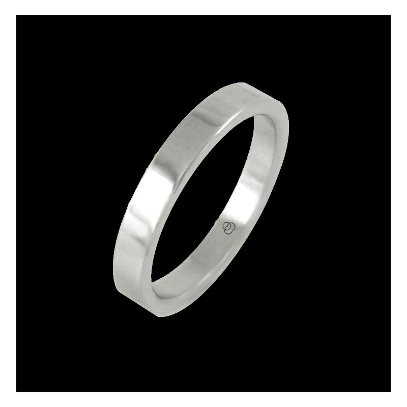 Anello in oro bianco 18 kt lucido superficie piatta modello ab23-50ew-bis