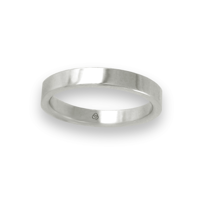 Ring in white gold 18k flat surface polished finish model ab23-50ew-bis