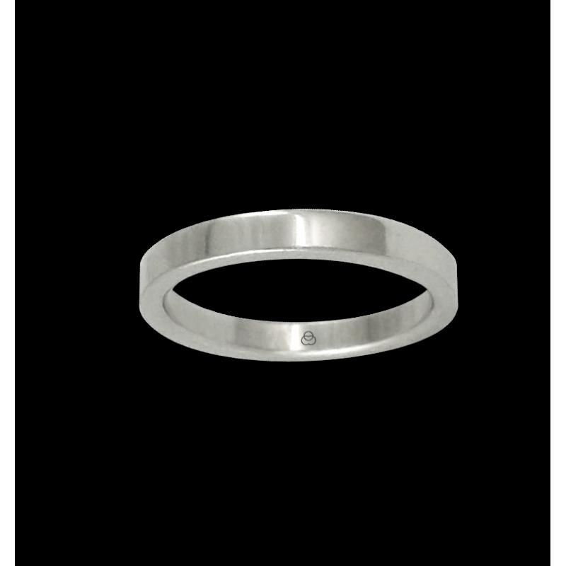 Ring in white gold 18k flat surface polished finish model ab82-50ew