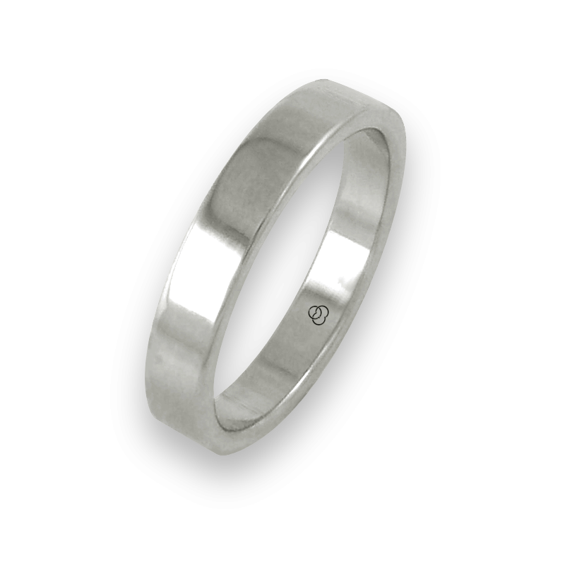 Ring in white gold 18 ct flat surface polished finish model ab04-50ew