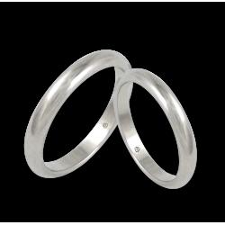 Пара обручальных колец из белого золота 18 карат, полированная округлая поверхность модель ab03-30ew+bis