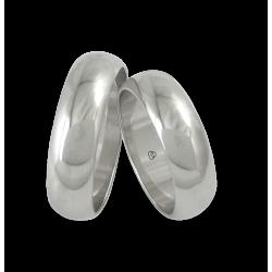 Пара обручальных колец из белого золота полированная округлая поверхность большая ширина модели ab06-01ew+bis