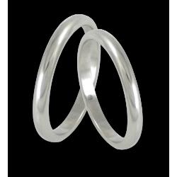 Пара обручальных колец из белого золота с полированной закругленной поверхностью модель ab82-20ew+bis