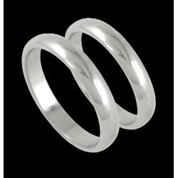 Fedi in oro bianco lucido superficie arrotondata media larghezza modello ab83-10es+bis