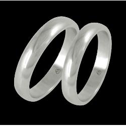Пара обручальных колец из белого золота с закругленной поверхностьюab24-20ew+bis