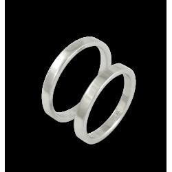 Пара обручальных колец из белого золота 18 карат плоская глянцевая поверхность модель ab82-50ew+bis