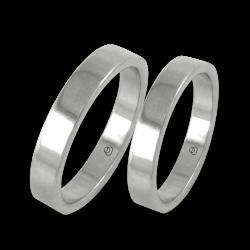 Пара обручальных колец из белого золота 18 карат плоская поверхность модель ab04-50ew+bis