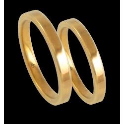 Пара обручальных колец из желтого золота 18 карат, глянцевая плоская поверхность модели ag82811ew+bis