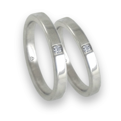 Wedding bands in white gold with diamond flat surface model ab82811dw+bis
