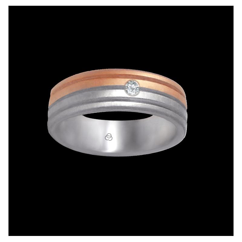 Anello oro bianco e rosa 18 kt finitura satinato e spazzolato un diamante modello md062532dw