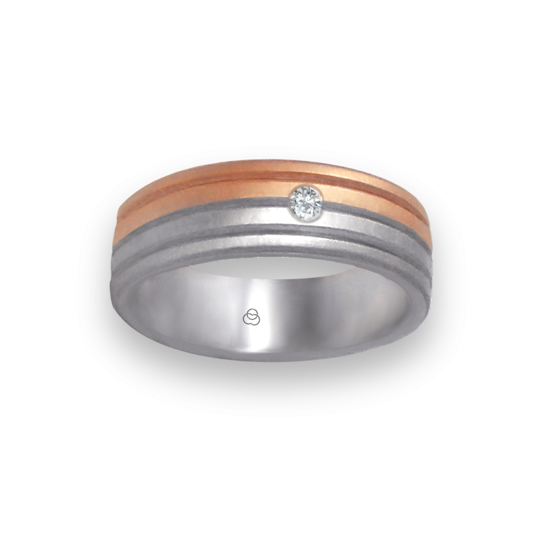 Ring in white and rose gold 18k soft brush and satin finish one diamond model md062532dw