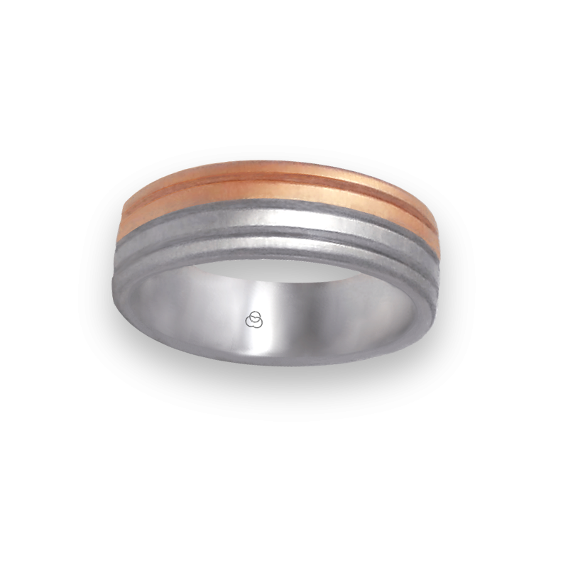 Ring in white and rose gold 18k soft brush and satin finish model md062532ew