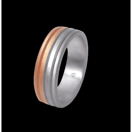 Кольцо из белого и розового золота 18 карат, отделка-сатиновая и матовая модель md062532ew
