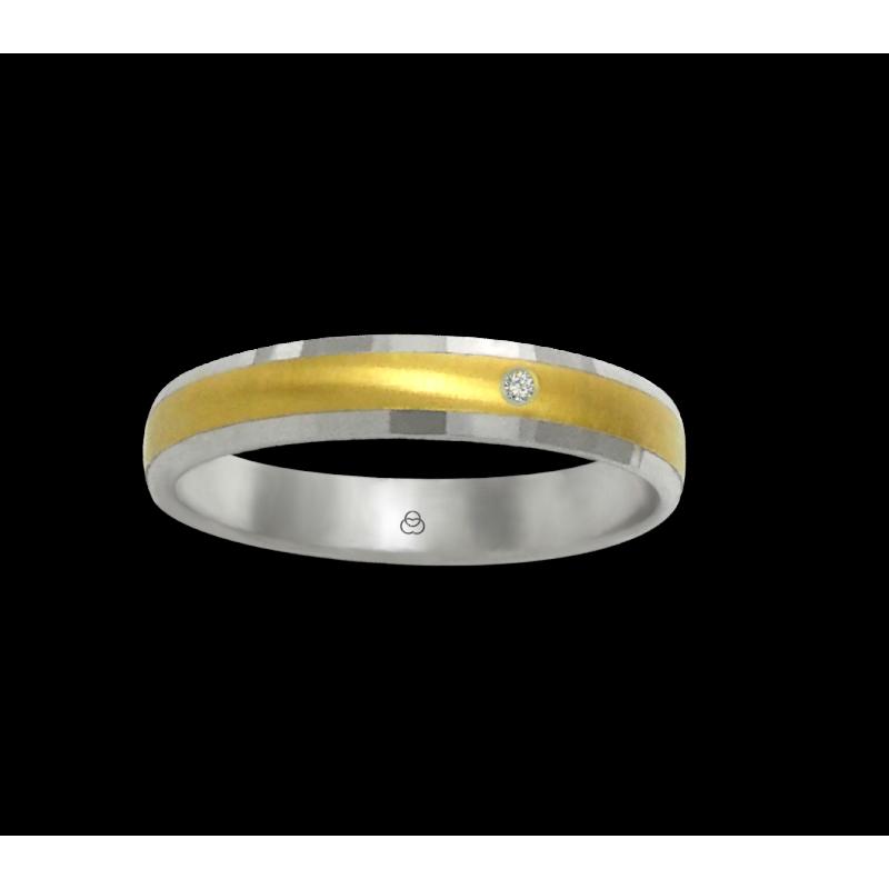 Anello oro bianco e giallo 18 kt finitura spazzolato al centro un diamante modello ml046732dw