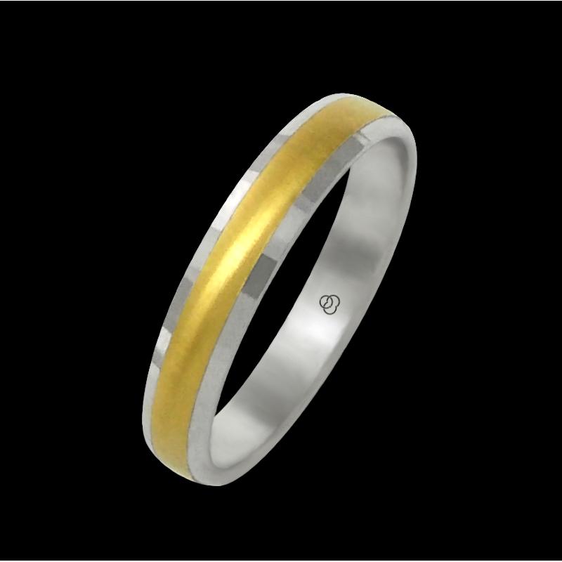 Anello oro bianco e giallo 18 kt finitura spazzolato al centro modello ml046732ew