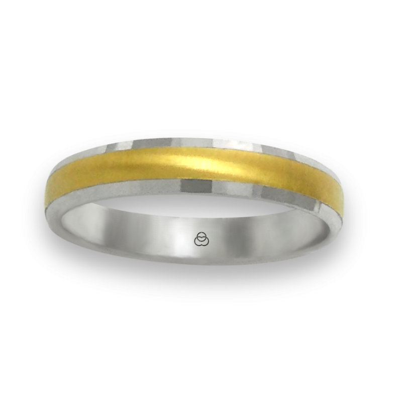 Ring in white and yellow gold 18k horizontally brushed finish at the center model ml046732ew