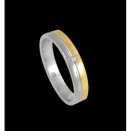 Anello oro bianco e giallo 18 kt finitura licido un diamante modello ac045004dw