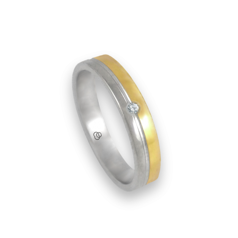 Ring in white and yellow gold 18k polished finish one diamond model ac045004dw